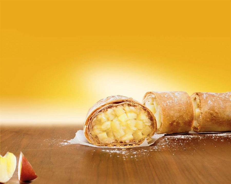 Strudel Frisch und Frost Gast Messe Apfelstrudel ohne Rosinen