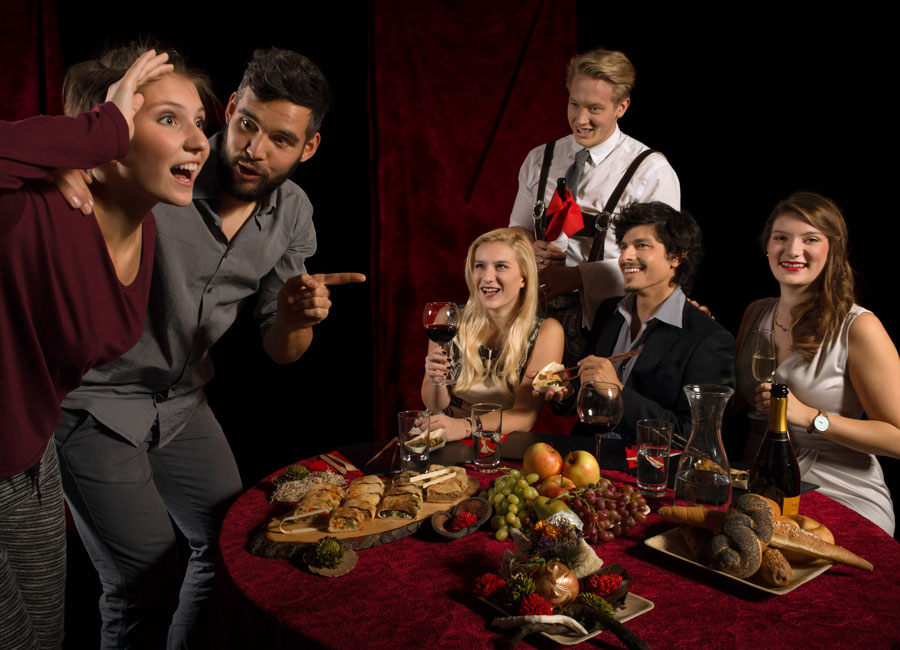 Improtheater mit Catering Bauernsushi