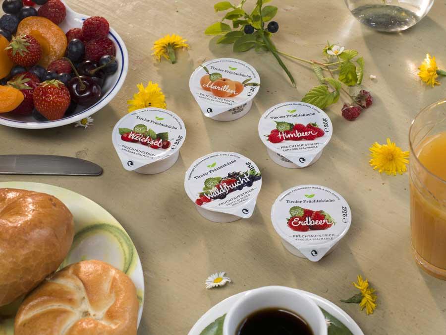 Konfitüren aus heimischem Obst von Unterweger Portionskonfitüren