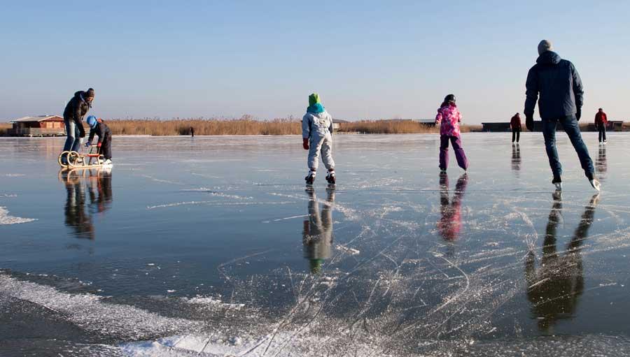 eislaufen am Größten Natureislaufplatz Mitteleuropas dem Neusiedler See