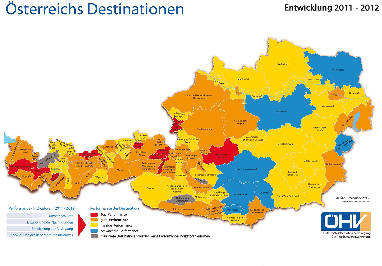 Österreichkarte Destinationen