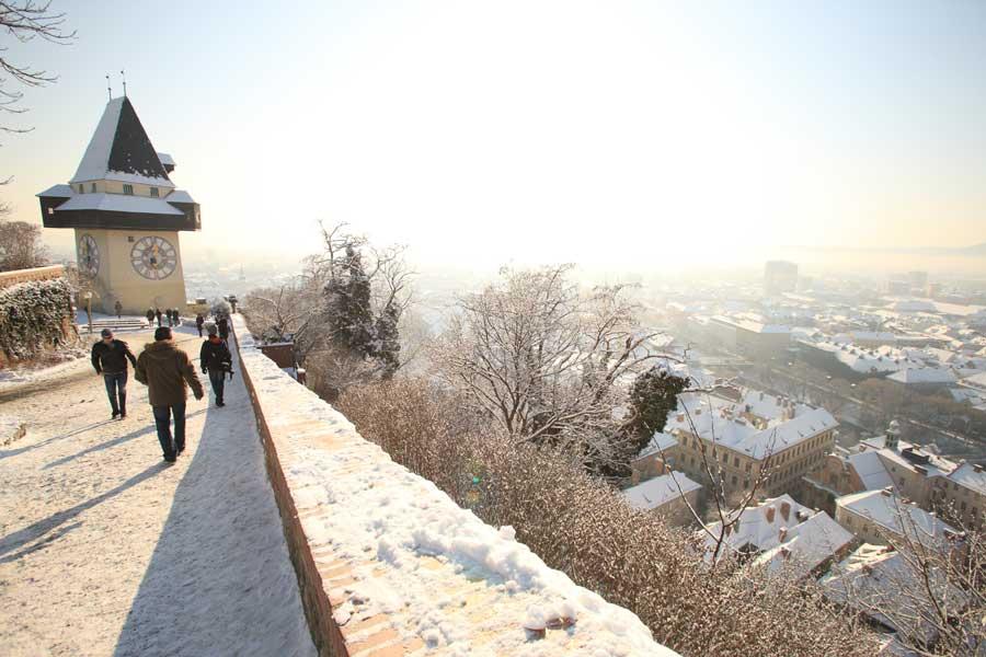 Silvester Locations Aussicht Schlossber Uhrturm
