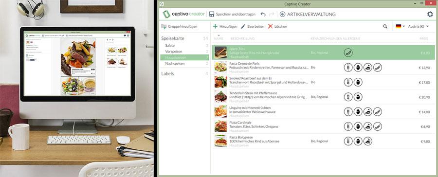 Digitales Informationssystem Gastronomie Montage Creator Allergenkennzeichnung