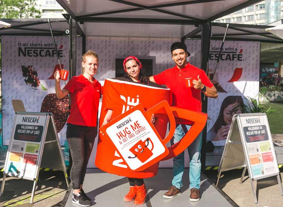 Nescafé Verkostung Wien Linz Graz Nescafe Hug Me