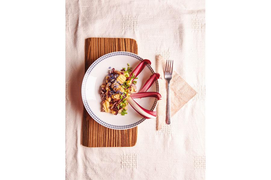 Rezept für Kartoffelgnocchi mit Radicchio Gartenküche Kartoffelgnocchi mit bitter-süßem Radicchio machen Gusto auf den Frühling, von Arche-Noah-Gartenkoch Benjamin Schwaighofer stammt dieses raffinierte Rezept dazu.