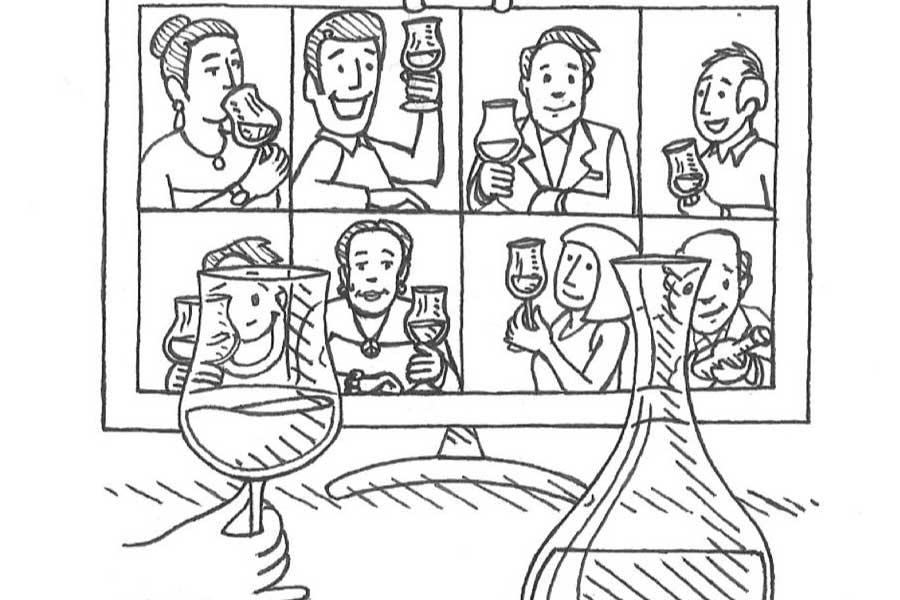 """erlesene gereifte Weine """"Tele-Tasting"""" illustriert vom trinkreif-Künstler des Jahres 2016 Lionel Favre"""